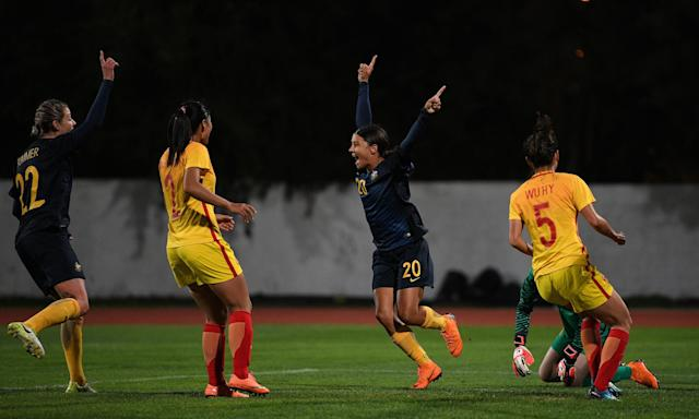 Sam Kerr was back on the scoresheet in Australia's victory over China at the Estadio Municipal de Albufeira.