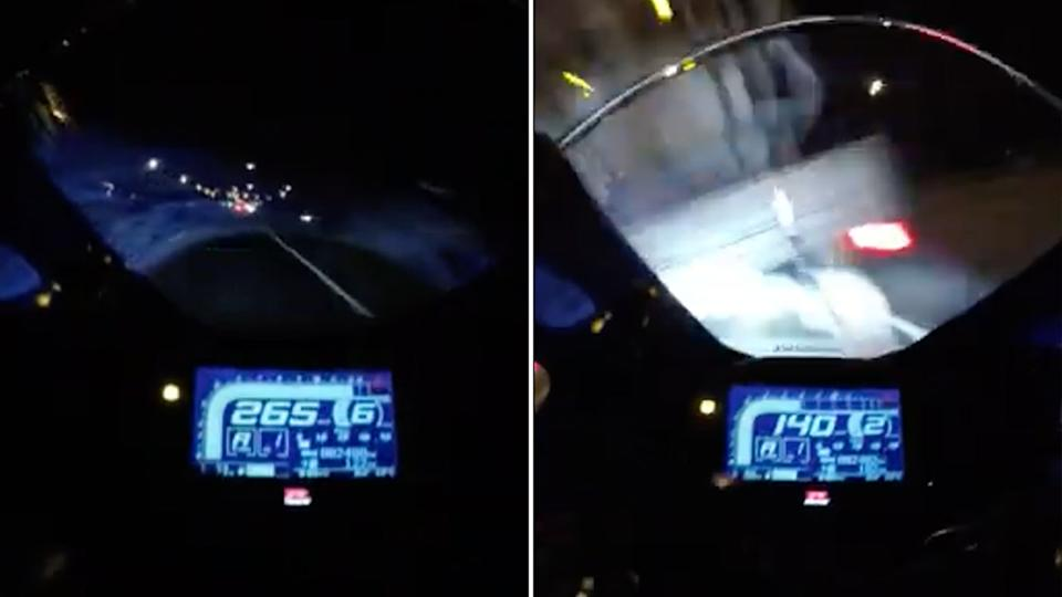 A motorcyclist was speeding more than 265km/h before he crashed into a truck at 140km/h. Source: South Australia Police