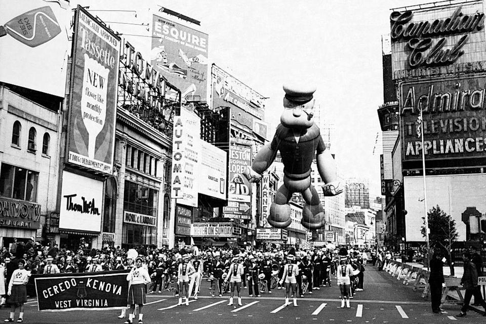 "<p>Popeye the Sailor graced the Macy's Thanksgiving Day Parade in 1957 as the crowd braved nasty rain. His hat filled with cold water during the procession and <a href=""http://time.com/4117164/macys-thanksgiving-parade-1948/"" rel=""nofollow noopener"" target=""_blank"" data-ylk=""slk:spilled onto spectators"" class=""link rapid-noclick-resp"">spilled onto spectators</a> as the balloon floated by.</p>"