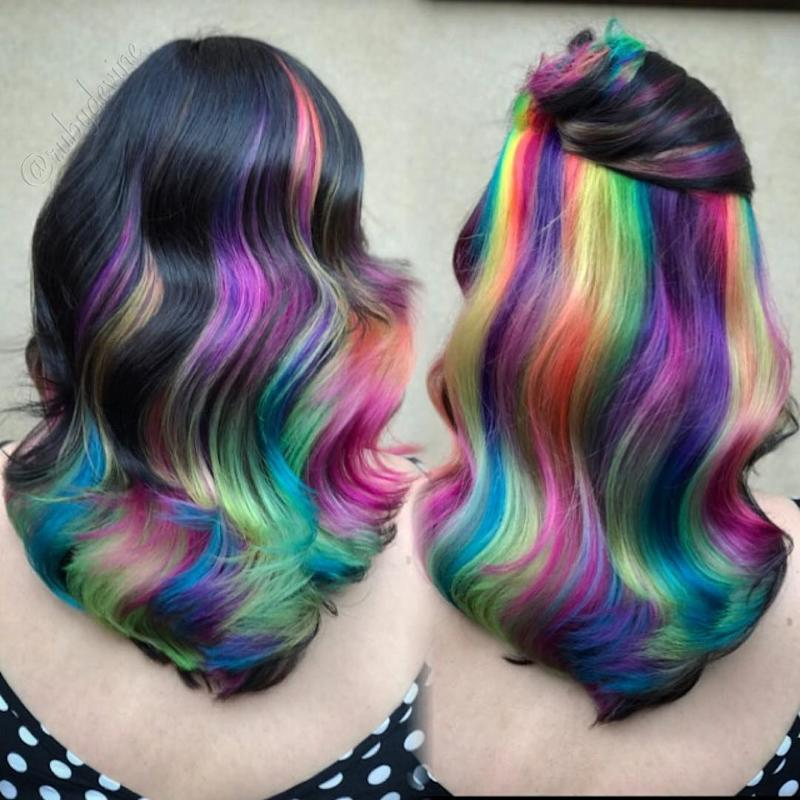 this rainbow hair look combines every instagram hair color