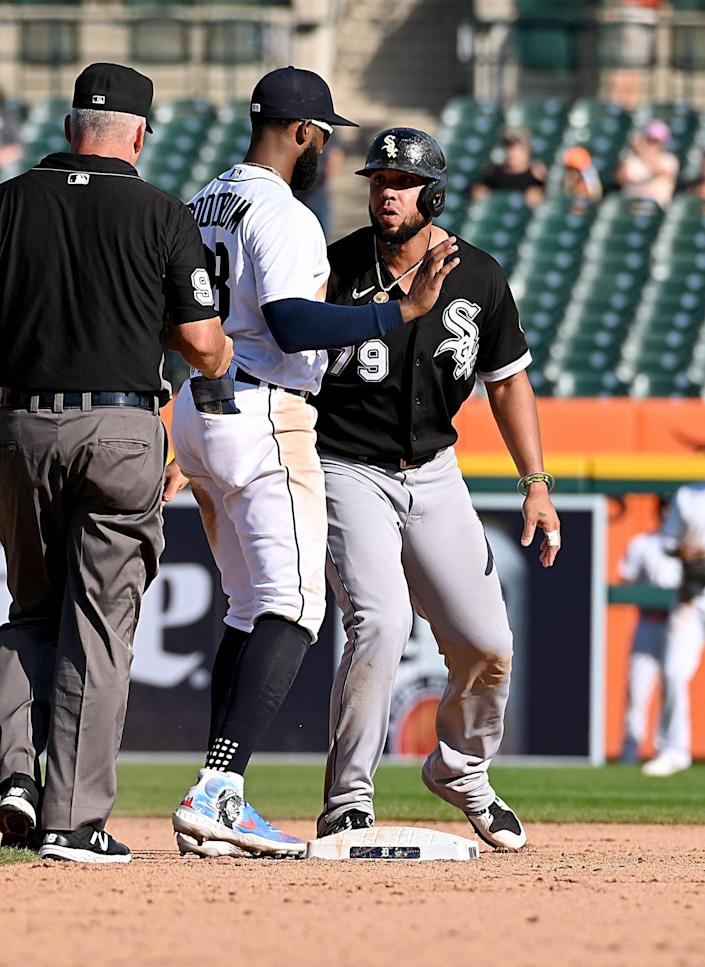 Tigers shortstop Niko Goodrum tagged White Sox first baseman Jose Abreu while stealing second base and causes a ninth-inning bench clearing scrum during the Tigers' 8-7 loss on Monday, Sept. 27, 2021, at Comerica Park.