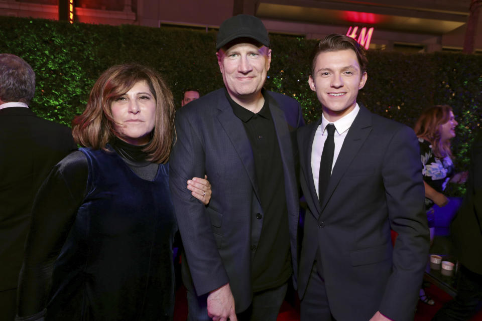 """Producer Amy Pascal, Executive Producer Kevin Feige, President of Marvel Studios, and Tom Holland seen at Columbia Pictures World Premiere of """"Spider-Man: Homecoming"""" after party on Wednesday, June 28, 2017, in Hollywood, CA. (Photo by Eric Charbonneau/Invision for Sony Pictures/AP Images)"""
