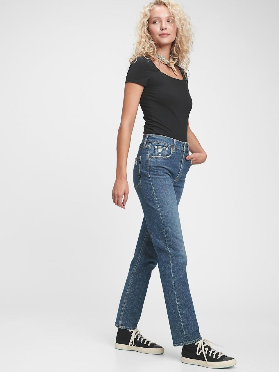 <p>These <span>Gap Sky High Straight Leg Jeans</span> ($80) are as classic and cool as it gets.</p>