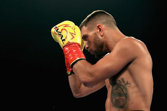 Vasyl Lomachenko looks on prior to a fight with Miguel Marriaga of Columbia at during their WBO World Championship Junior Lightweight title fight at the Microsoft Theater on August 5, 2017 in Los Angeles, California (AFP Photo/Sean M. Haffey)