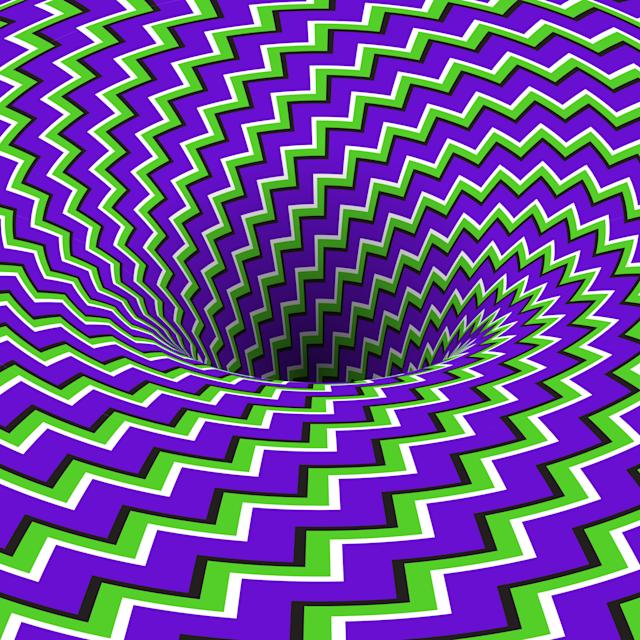 Absorbing hole of zig-zag stripes. Can you see it move?