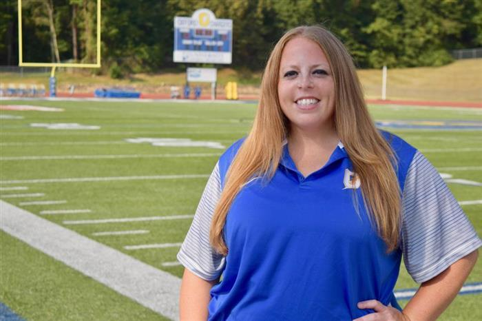 Megan Wolfe, an English teacher at Oxford Middle School, is also the school's first female assistant football coach. (Photo: Oxford Middle School)