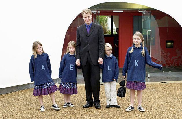 Earl Spencer with his children at the opening of the Princess Of Wales Memorial Playground in Kensington Gardens. (Photo: Tim Graham via Getty Images)