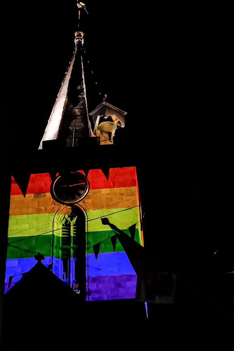 Pride colours were projected onto Town Church in Guernsey to show the community's support for the LGBTQ+ community