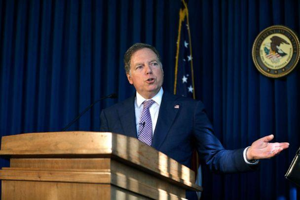 PHOTO: Geoffrey Berman, attorney for the Southern District of New York, speaks during a news conference in New York, Oct. 10, 2019. (Peter Foley/Bloomberg via Getty Images)