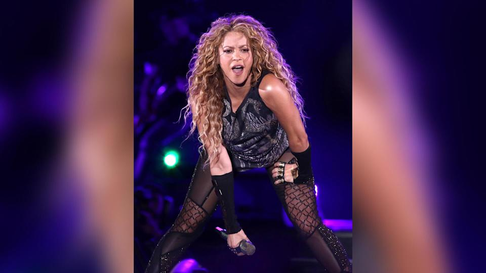 Shakira performing in concert at Madison Square Garden in New York.