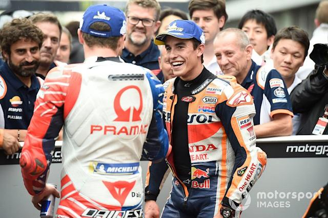 "Marc Marquez, Repsol Honda Team, Jack Miller, Pramac Racing <span class=""copyright"">Gold and Goose / LAT Images</span>"