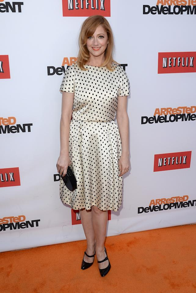 "HOLLYWOOD, CA - APRIL 29:  Actress Judy Greer arrives at the TCL Chinese Theatre for the premiere of Netflix's ""Arrested Development"" Season 4 held on April 29, 2013 in Hollywood, California.  (Photo by Jason Merritt/Getty Images)"