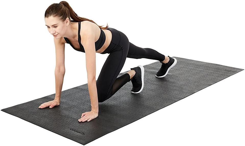 <p>Keep your floors protected from heavy equipement and wear and tear with this <span>Amazon Basics High Density Exercise Equipment and Treadmill Mat</span> ($40). It creates a clean and designated workout space right in your home.</p>