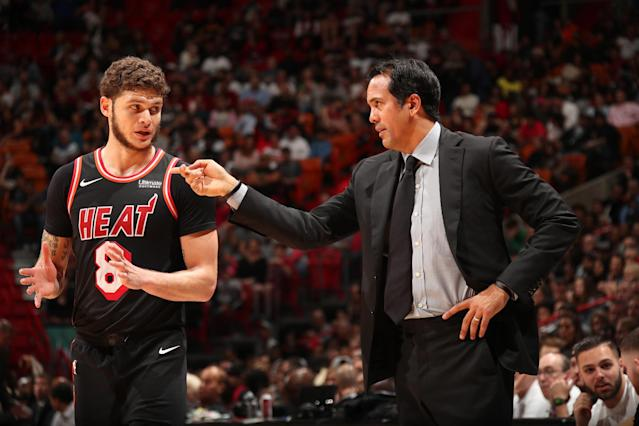 "Heat coach Erik Spoelstra talks with guard <a class=""link rapid-noclick-resp"" href=""/nba/players/5376/"" data-ylk=""slk:Tyler Johnson"">Tyler Johnson</a>, who has a four-year, $50 million contract. (Getty)"