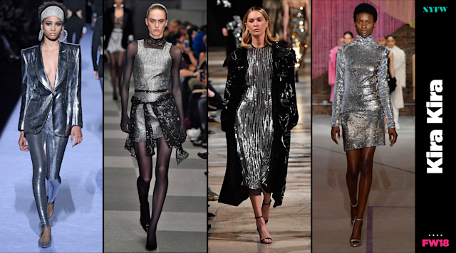 "At NYFW, sparkly ""KiraKira"" dresses and suits are a big trend for fall. (Photo: Getty/Art: Quinn Lemmers)"