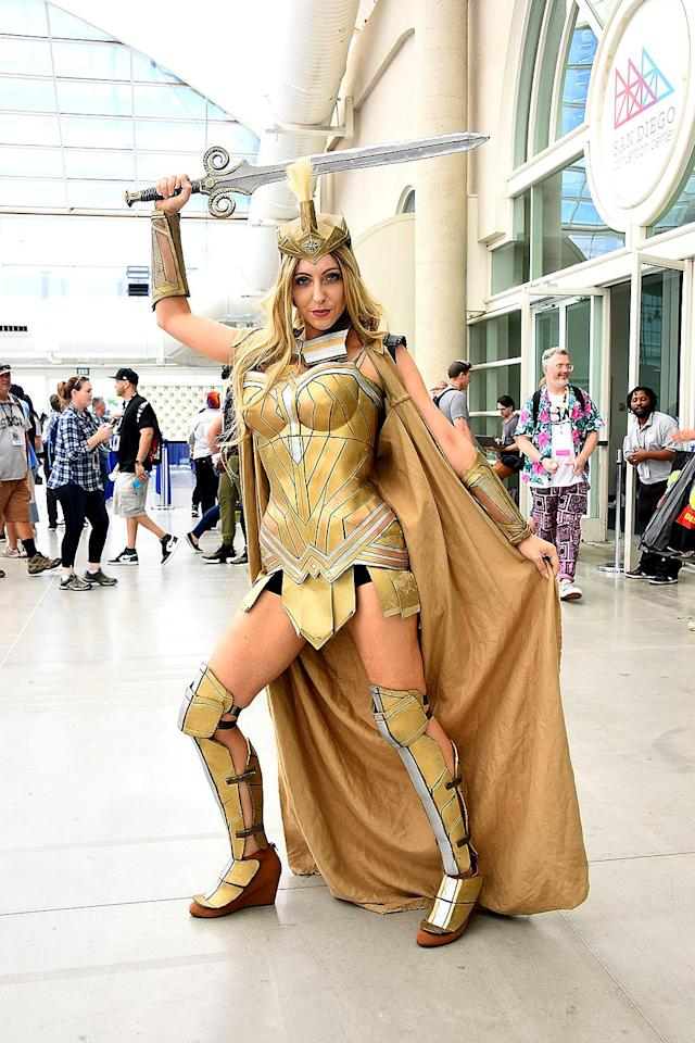 <p>Cosplayer dressed as She-Ra at Comic-Con International on July 20 in San Diego. (Photo: Araya Diaz/Getty Images) </p>