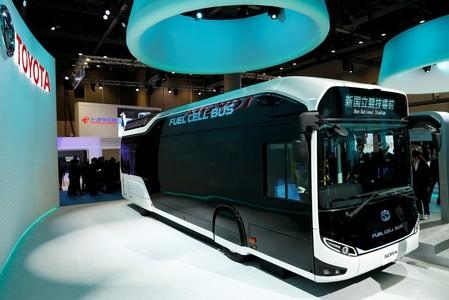 FILE PHOTO: Toyota Motor Corp. displays the company's fuel cell bus Sora during media preview of the 45th Tokyo Motor Show in Tokyo