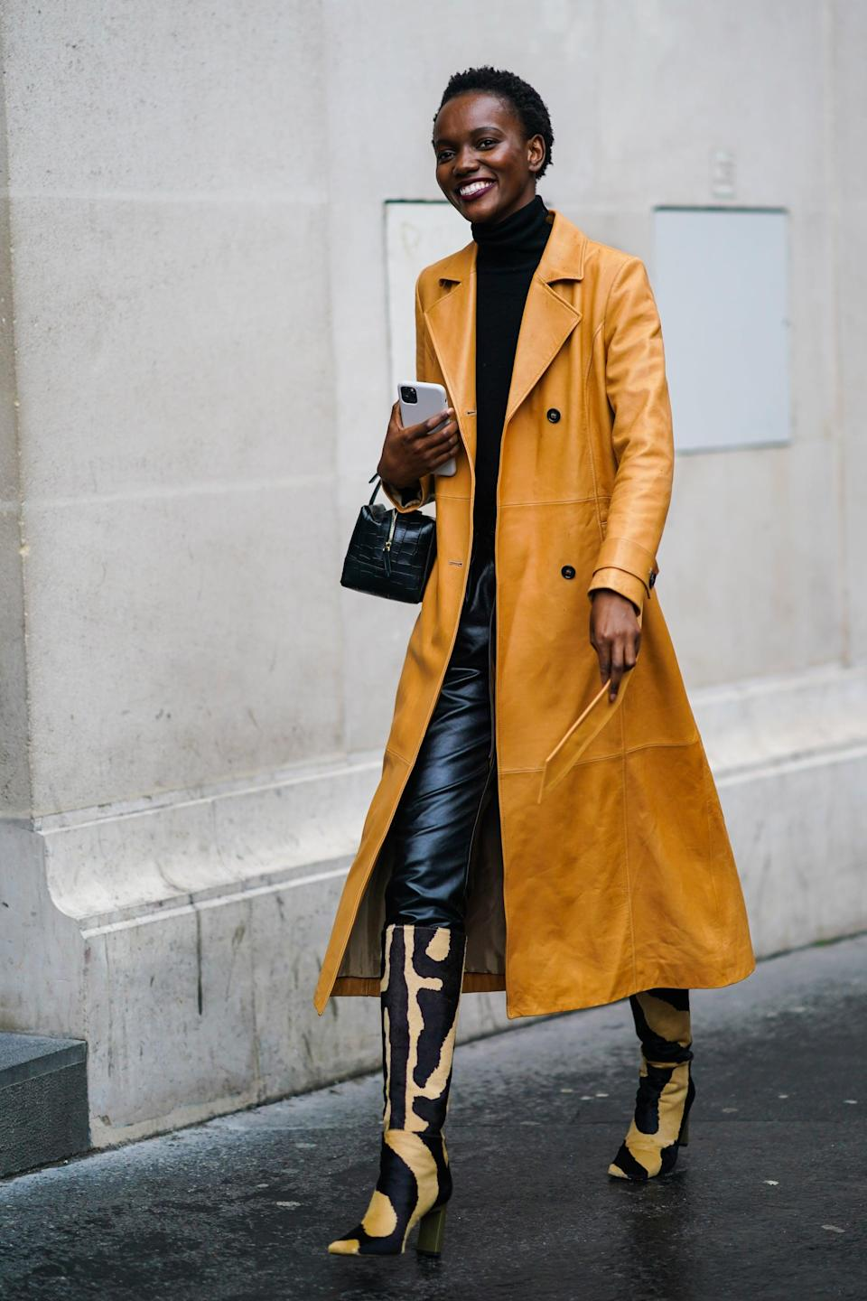 <p>Fall colors look fresh with an animal print boot</p>