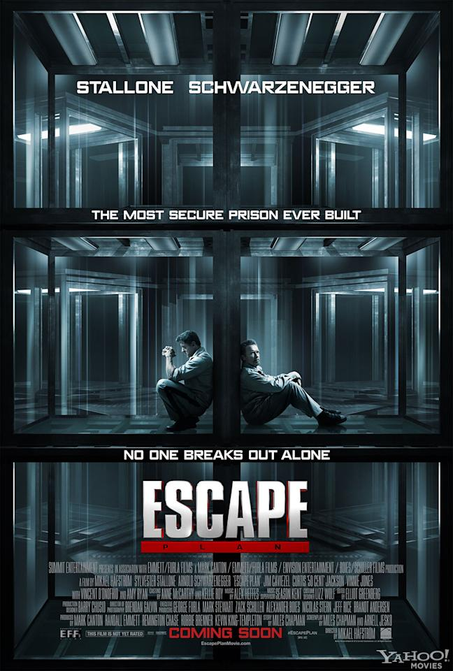 """Sylverster Stallone and Arnold Schwarzenegger star in Summit Entertainment's """"Escape Plan"""" - 2013"""