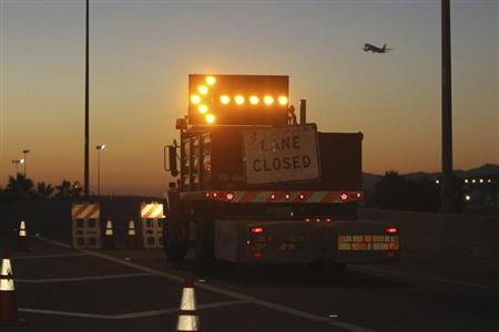 The offramp to Sepulveda Boulevard from the 105 freeway is blocked as all exit ramps to Los Angeles International Airport are closed