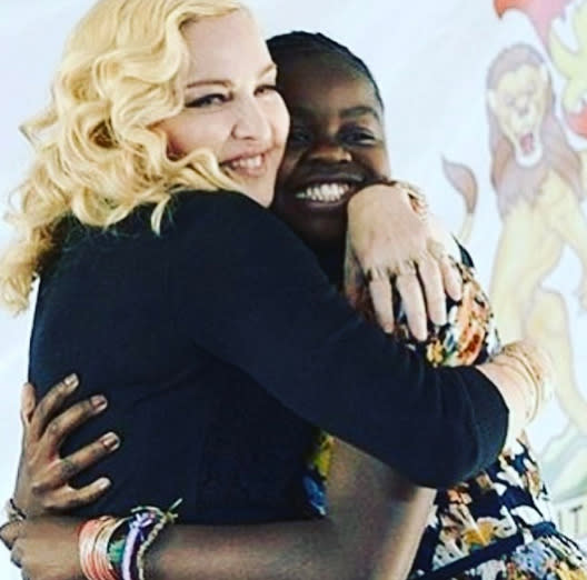 "<p>After opening a pediatric center in Malawi in honor of her daughter Mercy James, Madonna gave her daughter a shout-out on social media for ""beautiful speech!!"" Madonna described herself as ""so proud."" (Photo: <a href=""https://www.instagram.com/p/BWd0POCBX7W/?taken-by=madonna"" rel=""nofollow noopener"" target=""_blank"" data-ylk=""slk:Madonna via Instagram"" class=""link rapid-noclick-resp"">Madonna via Instagram</a>) </p>"