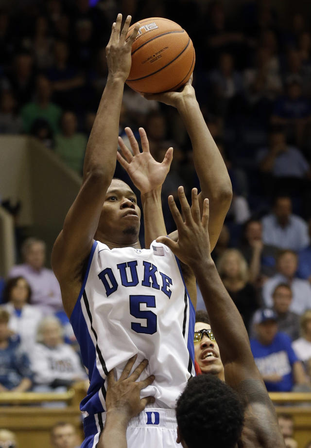 Duke's Rodney Hood (5) shoots against Drury during the second half of an exhibition NCAA college basketball game in Durham, N.C., Saturday, Nov. 2, 2013. Duke won 81-65. (AP Photo/Gerry Broome)