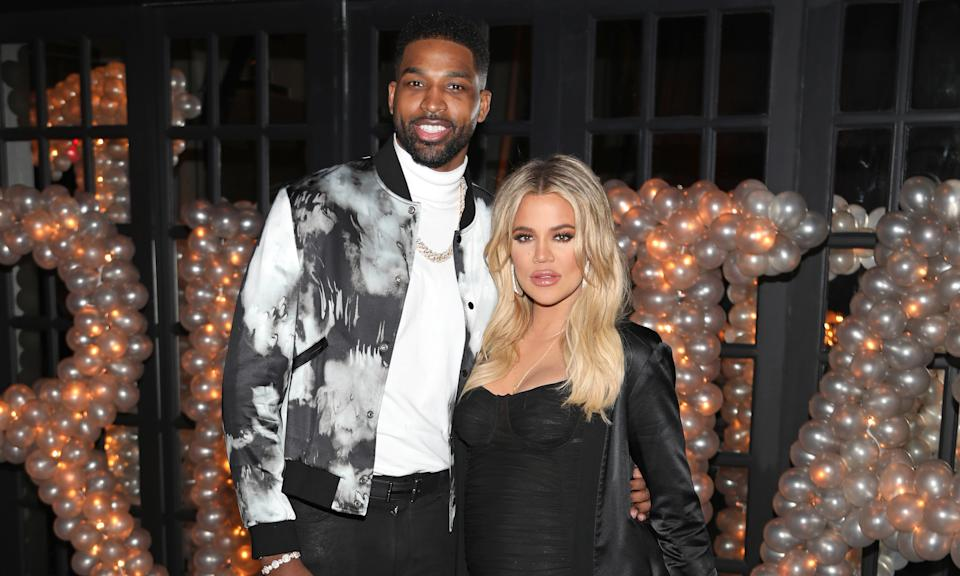 "Khloe Kardashian split with the father of her daughter True earlier this year when she and Tristan Thompson <a href=""https://www.yahoo.com/entertainment/khloe-kardashian-tristan-thompson-split-221116199.html"" data-ylk=""slk:called time on their relationship;outcm:mb_qualified_link;_E:mb_qualified_link;ct:story;"" class=""link rapid-noclick-resp yahoo-link"">called time on their relationship</a>. It had been a difficult year for the pair after their relationship was rocked by rumours he'd cheated on her with little sister Kylie's friend Jordan Woods, which Woods denied. Kardashian and Thompson then split months after. (Jerritt Clark/Getty Images for Remy Martin)"