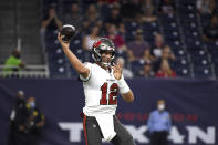 Tampa Bay Buccaneers quarterback Tom Brady throws a pass against the Houston Texans during the first half of an NFL preseason football game Saturday, Aug. 28, 2021, in Houston. (AP Photo/Eric Christian Smith)