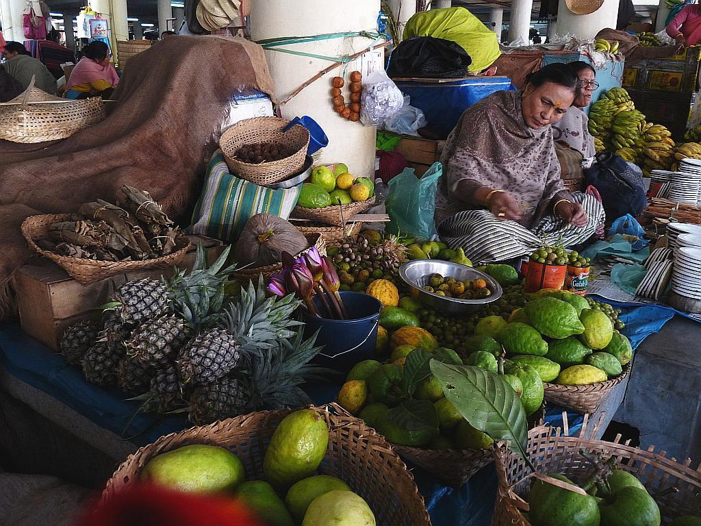 Fruit-sellers at Ima Keithel in Imphal, Manipur. Bananas, melons, citrus fruits and pineapples are a major part of the Manipuri diet.