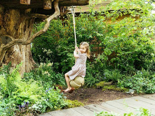 PHOTO: Princess Charlotte, daughter of Prince William and Kate, Duchess of Cambridge plays in the Adam White and Andree Davies co-designed garden ahead of the RHS Chelsea Flower Show in London, in this image released on, May 19, 2019. (Matt Porteous/Kensington Palace via AP)