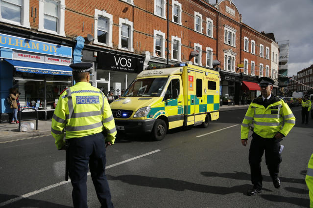<p>Police and an ambulance stand near Parsons Green subway station in London, Friday, Sept. 15, 2017. (Photo: Frank Augstein/AP) </p>