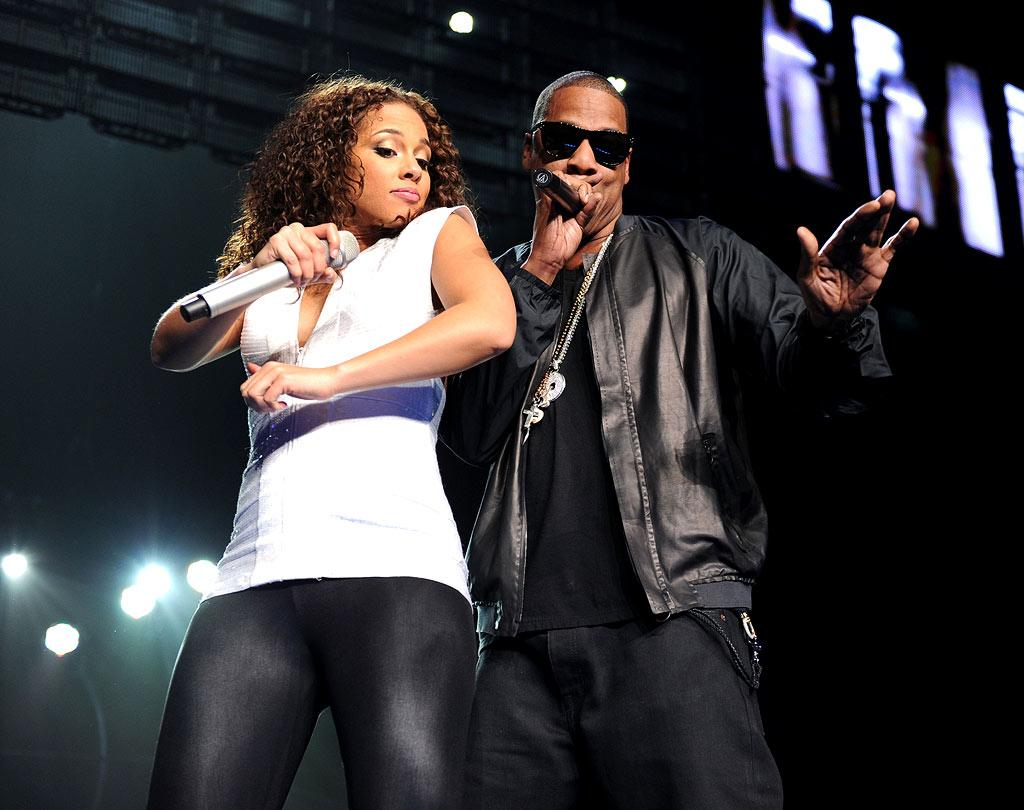 "A NYC-based Alicia Keys concert just wouldn't be complete without an appearance by her friend and ""Empire State of Mind"" collaborator Jay-Z. Jason Kempin/<a href=""http://www.gettyimages.com/"" target=""new"">GettyImages.com</a> - March 17, 2010"