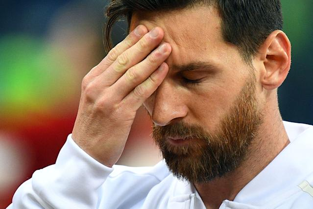 Lionel Messi was overcome by emotion before Argentina's World Cup match against Croatia. (Getty)
