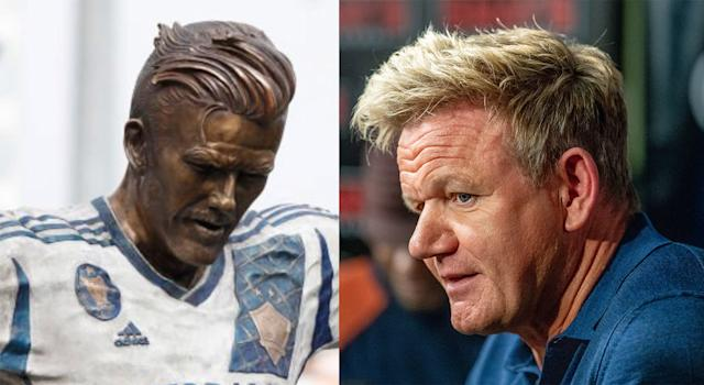 The statue of soccer legend David Beckham unveiled over the weekend looks a little more like, well, another British celebrity. Photos from @RKA0S on Twitter and Getty Images.