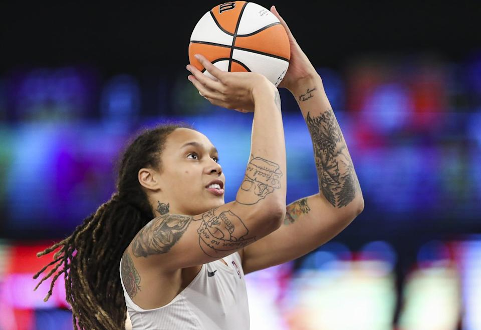 """<p>Griner is a two-time Wold Cup gold medalist, and won the 2014 WNBA Championships with the Phoenix Mercury. This will be Griner's second Olympic Games. <a href=""""http://www.usab.com/basketball/players/womens/g/griner-brittney.aspx"""" class=""""link rapid-noclick-resp"""" rel=""""nofollow noopener"""" target=""""_blank"""" data-ylk=""""slk:Check out her USA Basketball profile here"""">Check out her USA Basketball profile here</a>.</p> <p><strong>Age:</strong> 30</p> <p><strong>Current WNBA Team:</strong> Phoenix Mercury</p> <p><strong>Position:</strong> Center</p> <p><strong>Instagram:</strong> <a href=""""https://www.instagram.com/brittneyyevettegriner/"""" class=""""link rapid-noclick-resp"""" rel=""""nofollow noopener"""" target=""""_blank"""" data-ylk=""""slk:@brittneyyevettegriner"""">@brittneyyevettegriner</a></p>"""