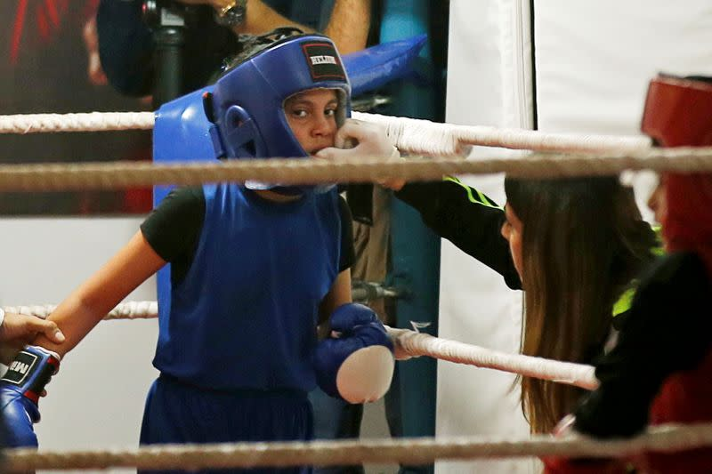 Palestinian girls compete in a rare boxing contest