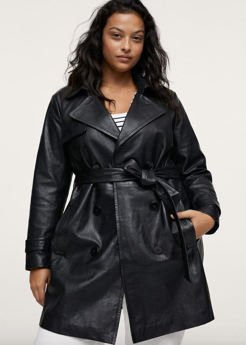 <p><span>Mango Double-Breasted Leather Coat</span> ($300)</p>
