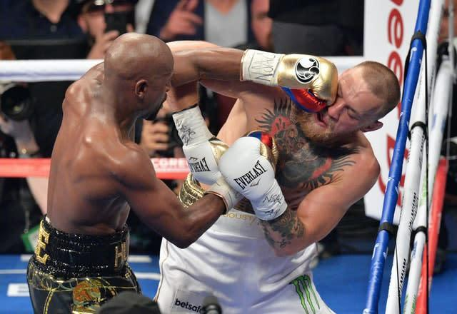 Conor McGregor lost to Floyd Mayweather in a big-money boxing match in La Vegas (Lionel Hahn/PA)