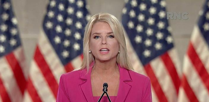 Former Florida Attorney General, Pam Bondi, speaks during the Republican National Convention at the Mellon Auditorium in Washington, D.C., Tuesday, Aug. 25, 2020.
