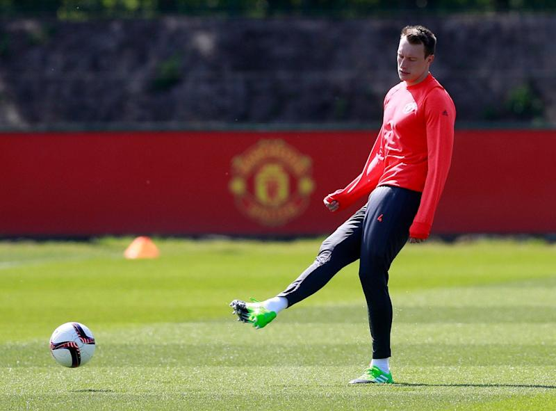Phil Jones is back in training for Manchester United - Credit: REUTERS/Jason Cairnduff