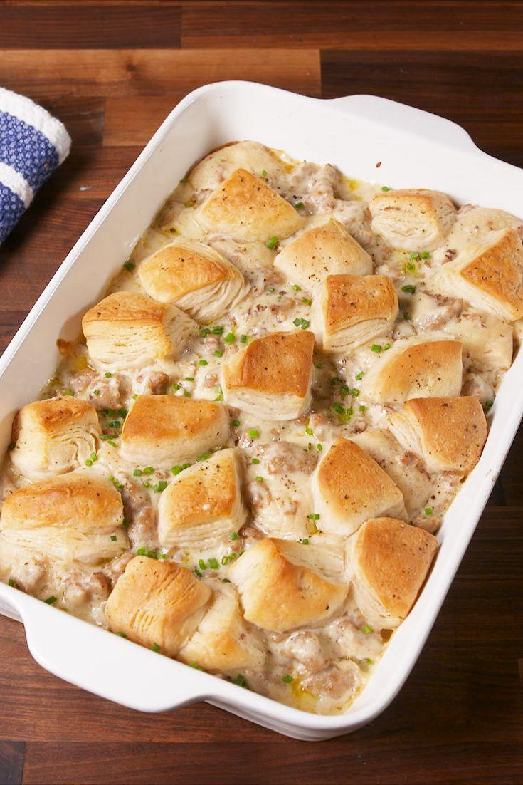 """<p>A casserole dish of biscuits and gravy just makes sense.</p><p>Get the recipe from <a href=""""https://www.delish.com/cooking/recipe-ideas/recipes/a58137/biscuits-and-gravy-bake-recipe/"""" rel=""""nofollow noopener"""" target=""""_blank"""" data-ylk=""""slk:Delish"""" class=""""link rapid-noclick-resp"""">Delish</a>. </p>"""