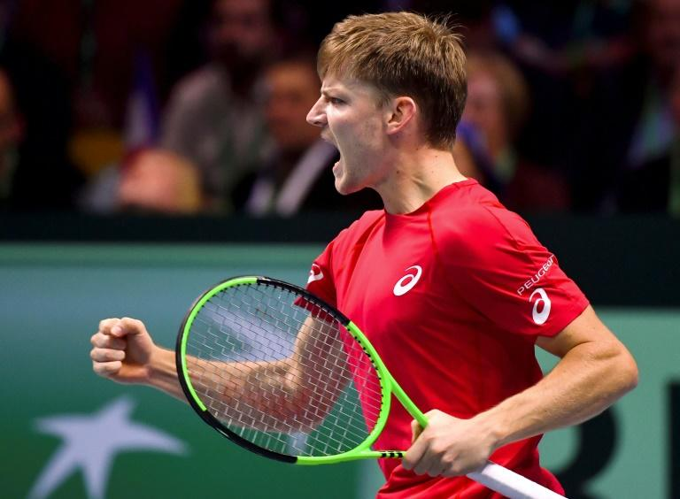 Belgium's David Goffin reacts after winning against France's Lucas Pouille during the Davis Cup final at The Pierre Mauroy Stadium in Lille on November 24, 2017
