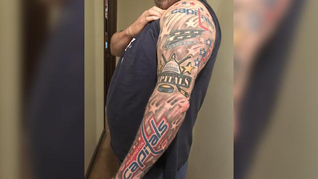 After getting his arm signed by John Carlson, an avid Capitals fan was able to complete his Caps-themed tattoo sleeve Thursday.
