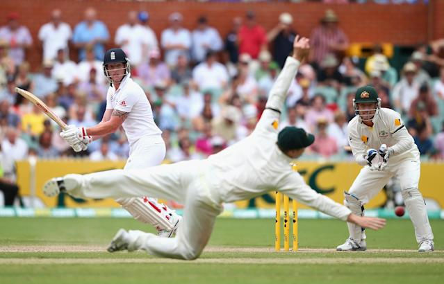 ADELAIDE, AUSTRALIA - DECEMBER 08: Ben Stokes of England hits bast Steve Smith of Australia during day four of the Second Ashes Test Match between Australia and England at Adelaide Oval on December 8, 2013 in Adelaide, Australia. (Photo by Ryan Pierse/Getty Images)
