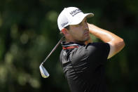 Patrick Cantlay hits from the second tee during the third round of the Tour Championship golf tournament Saturday, Sept. 4, 2021, at East Lake Golf Club in Atlanta. (AP Photo/Brynn Anderson)