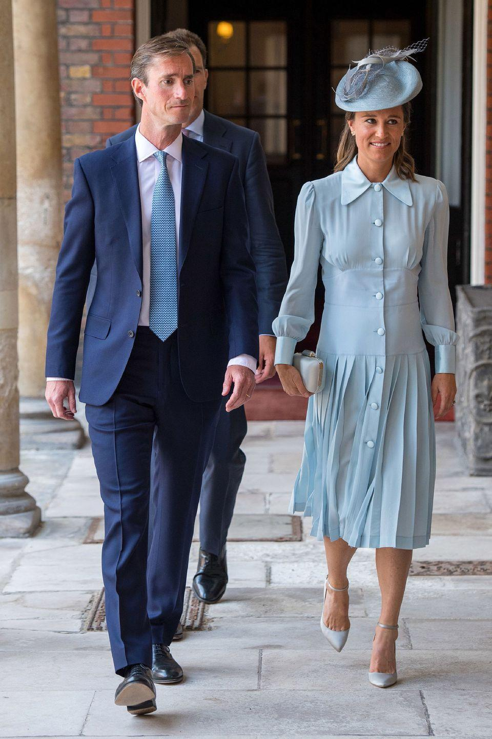 <p>In a custom Alessandra Rich dress while attending Prince Louis' christening with James Matthews at St. James' Palace.</p>