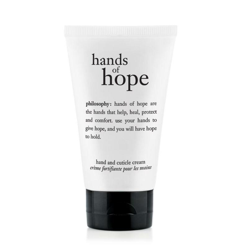 "<p>An intense moisturizer that dries to a powdery finish, Philosophy Hands of Hope keeps skin soft and screens pristine. This 2018 Best of Beauty-winning cream not only hydrates rough cuticles, but can also be used as a hand moisturizer. Perfect for colder or dryer seasons, you can keep a travel-sized bottle of this in your purse for when your hands need a little TLC.</p> <p><strong>$10</strong> (<a href=""https://shop-links.co/1650022535653872839"" rel=""nofollow"">Shop Now</a>)</p>"