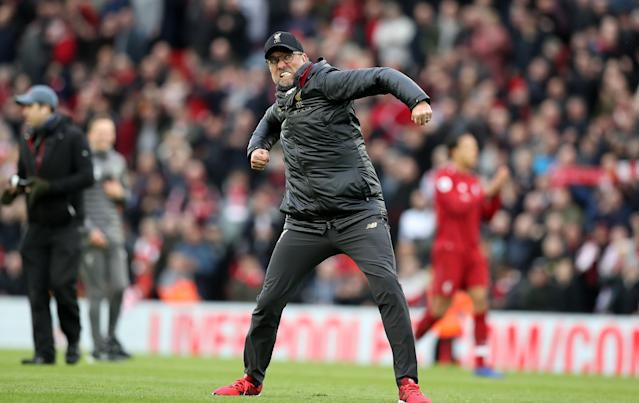 Jurgen Klopp was pumping his fist like a madman after Liverpool's win over Tottenham. (Getty)