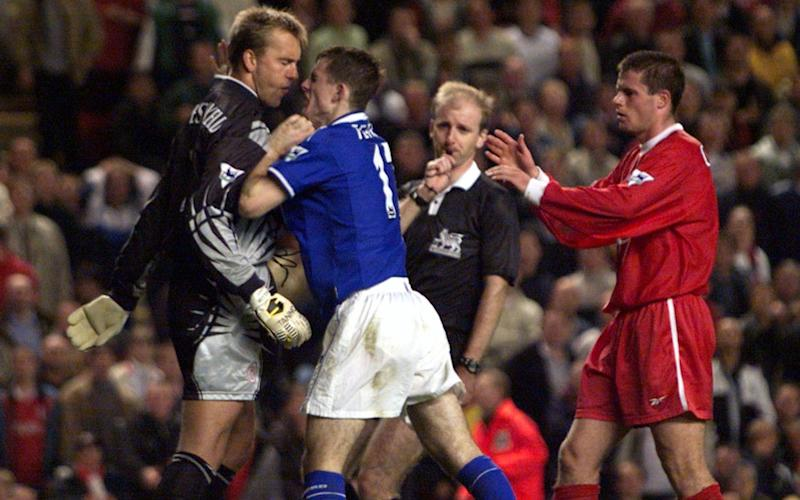 Jeffers and Sander Westerveld clashed in the 1999 Merseyside derby - Credit: Reuters