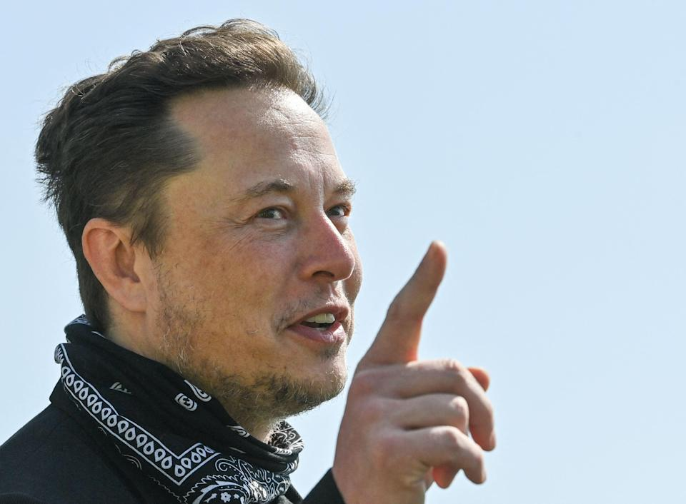 US entrepreneur and business magnate Elon Musk gestures during a visit at the Tesla Gigafactory plant under construction, on August 13, 2021 in Gruenheide near Berlin, eastern Germany. (Photo by Patrick Pleul / POOL / AFP) (Photo by PATRICK PLEUL/POOL/AFP via Getty Images)